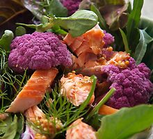 Purple Cauli & Smoked Salmon Salad by Kathy Reid