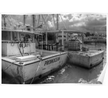 Fishing Boats at Potter's Cay in Nassau, The Bahamas Poster