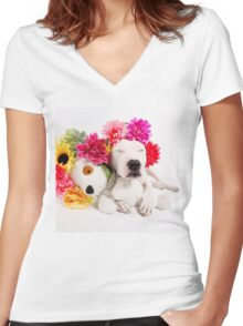 Beebs & Babes Flower Crown Women's Fitted V-Neck T-Shirt