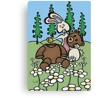 Teddy Bear and Bunny - Sweet Golden Blood Canvas Print