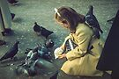 Girl and pigeons Trafalgar square 19570903 0008 by Fred Mitchell