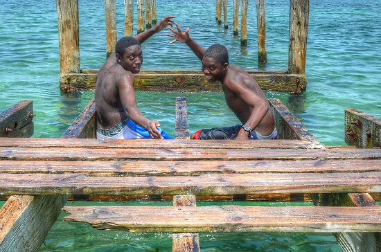 Bahamian Boys at Montagu Beach by Jeremy Lavender Photography