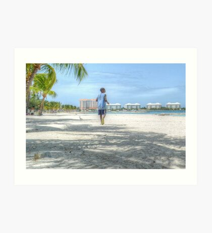 Bahamian Boy at Montagu Beach Art Print