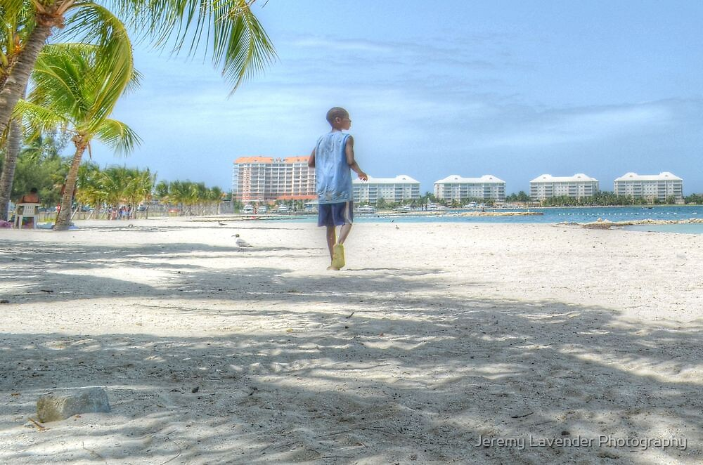 Bahamian Boy at Montagu Beach by Jeremy Lavender Photography