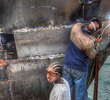 Fixin' Da Boat on Potter's Cay docks in The Bahamas by Jeremy Lavender Photography
