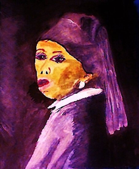 My version of Vermeers,,,Girl with pearl earring, #1  watercolor by Anna  Lewis