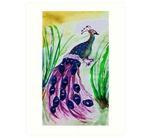 Strutting his stuff, watercolor Art Print