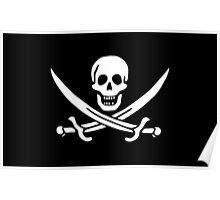 Jolly Roger, PIRATE FLAG, Jack Rackham, Skull & Crossbones, Cutlass, Swords, Pirate, Crew, Buccaneer, white Poster