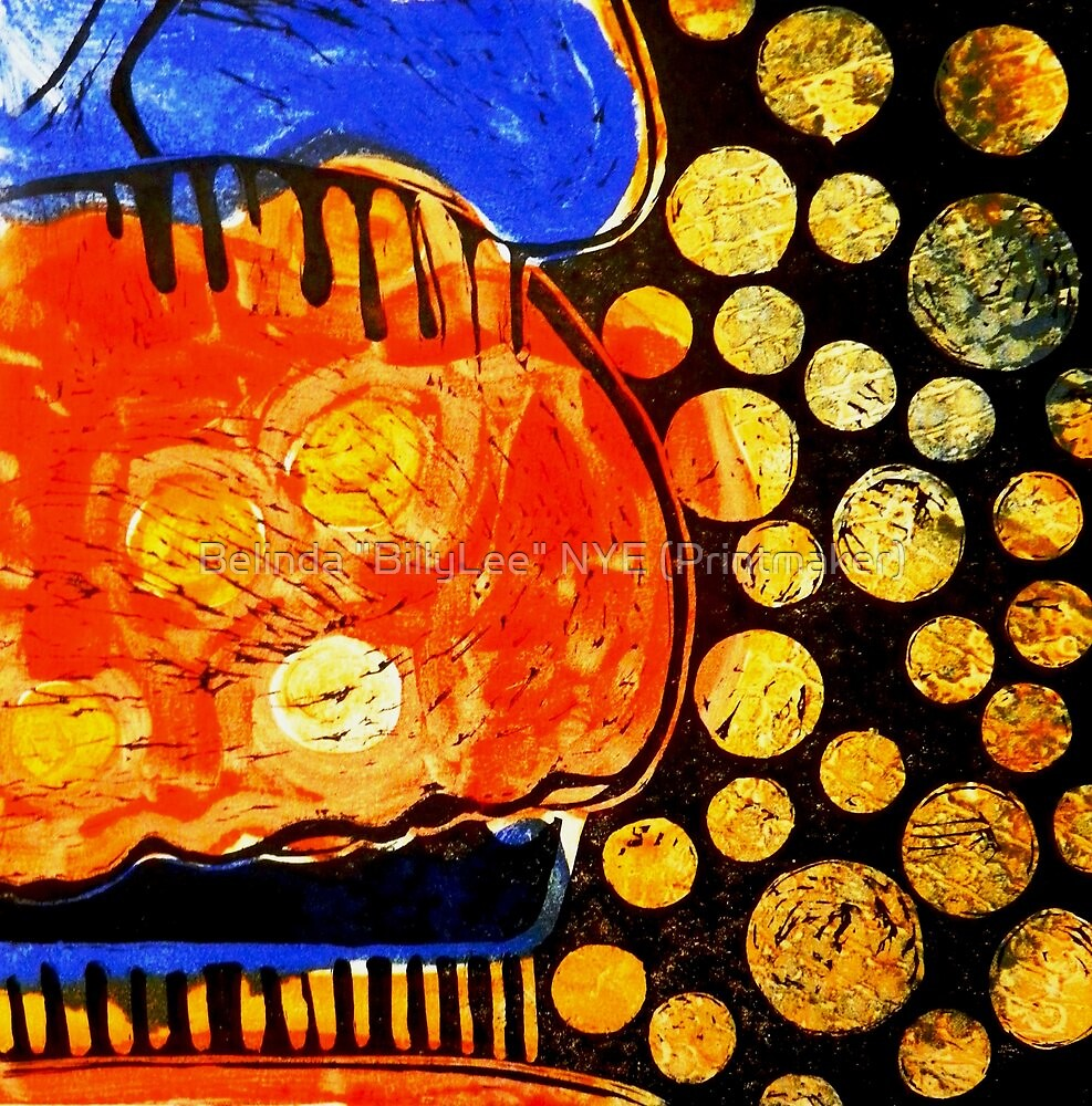 "Orange Jelly Jelly - Monotype/Linocut by Belinda ""BillyLee"" NYE (Printmaker)"