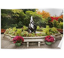 Fountain in Butchart Gardens in the Fall Poster