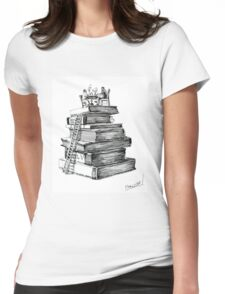Library. Illustration Womens Fitted T-Shirt