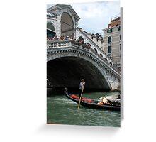 Venice grand canal, under Rialto bridge & gondola Greeting Card