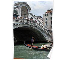 Venice grand canal, under Rialto bridge & gondola Poster