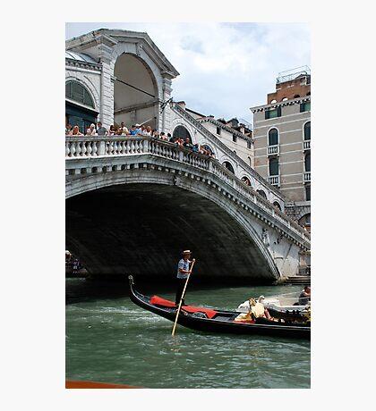 Venice grand canal, under Rialto bridge & gondola Photographic Print