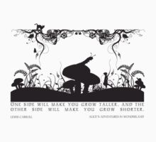 Alice's Adventures in Wonderland Black and White Illustrated Quote Kids Clothes
