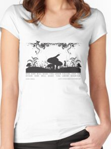 Alice's Adventures in Wonderland Black and White Illustrated Quote Women's Fitted Scoop T-Shirt