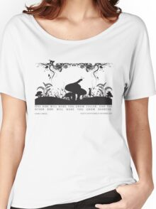 Alice's Adventures in Wonderland Black and White Illustrated Quote Women's Relaxed Fit T-Shirt