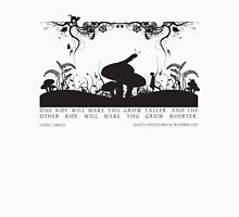 Alice's Adventures in Wonderland Black and White Illustrated Quote T-Shirt