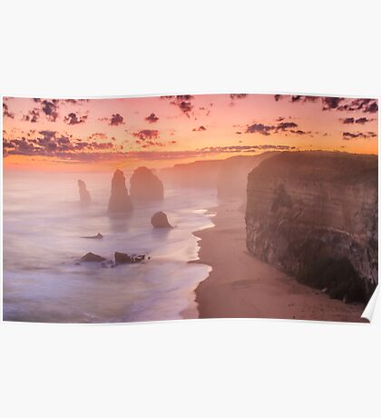 Misty sunset at the twelve apostles Poster