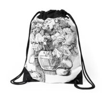 Flowers and apples.  Drawstring Bag