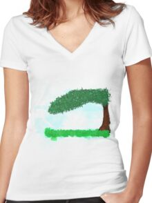 Landscape of calm Women's Fitted V-Neck T-Shirt
