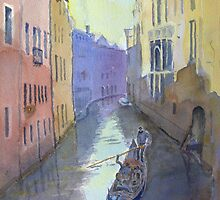 Canal with gondola by HurstPainters