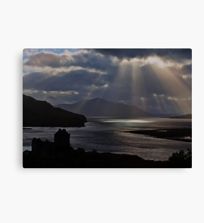 Sun Rays over Eilean Donal Castle Canvas Print