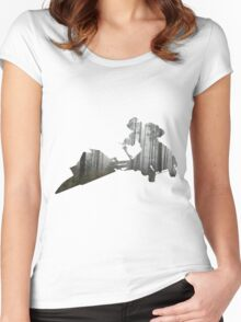 Star Wars Scout Trooper on Speeder Bike on Endor Women's Fitted Scoop T-Shirt
