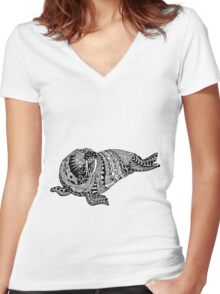 Walrus Drawing Women's Fitted V-Neck T-Shirt