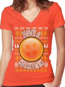 A 4 Star Christmas Women's Fitted V-Neck T-Shirt