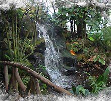 Footbridge and Waterfall at Ott's Garden Center - Schwenskville PA by MotherNature