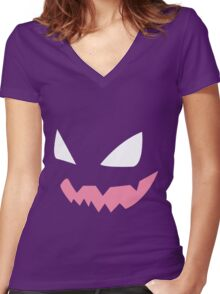 Haunter face Women's Fitted V-Neck T-Shirt