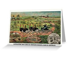 Antique Distributing ship cargo of buggies Australia  Greeting Card