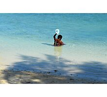 Bahamian woman taking a morning bath in the ocean Photographic Print