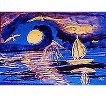 Moonlit sail, watercolor Photographic Print