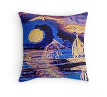 Moonlit sail, watercolor Throw Pillow
