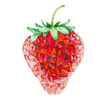 Low Poly Watercolor Strawberry Photographic Print