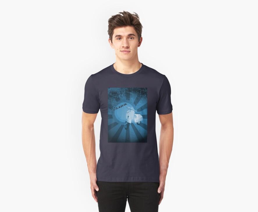 Vespa Tee Blue by modernistdesign