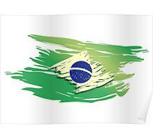 Brazil Torn-style Flag Poster