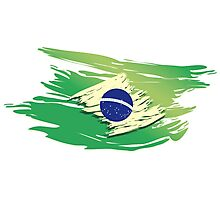 Brazil Torn-style Flag Photographic Print