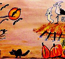 Halloween scene, watercolor by Anna  Lewis
