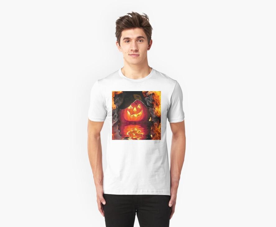 Fire Pumpkin Tee by Rick  Friedle