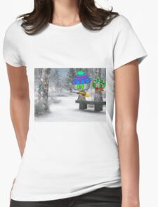 Cat Plays Christmas Song On His Guitar Womens Fitted T-Shirt