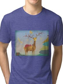 Christmas Deer with Child, Christmas Tree and Stars Tri-blend T-Shirt