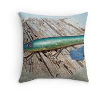 Vintage Lido Flaptail Saltwater Fishing Lure Throw Pillow