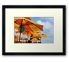 Orange Umbrellas in Brazil Framed Print