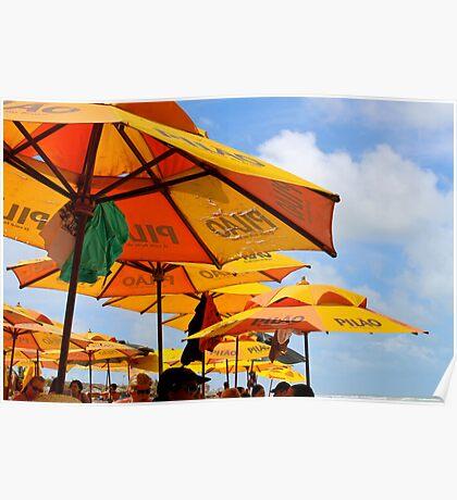 Orange Umbrellas in Brazil Poster