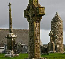 Celtic Cross, Clonmacnoise, Ireland by Mary Fox