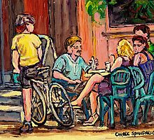LUNCH AT THE TERRACE CAFE MONTREAL SUMMER DAY by Carole  Spandau