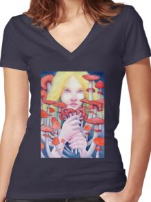 Keeper of the Scarlet Garden Women's Fitted V-Neck T-Shirt